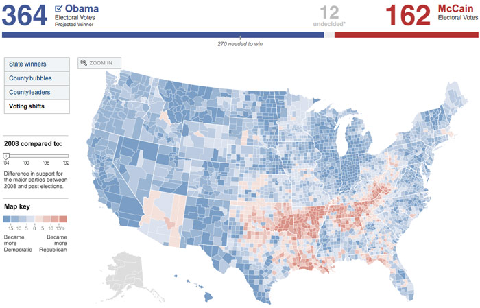 ny times a really interesting voting shifts map most of the country shifted democratic except for alaska palin s home state arizona john mccain s
